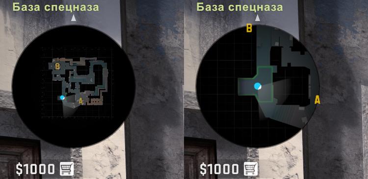 Изменения размера видимой части радара