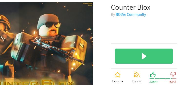 Нажать на кнопку Play под игрой Counter Blox
