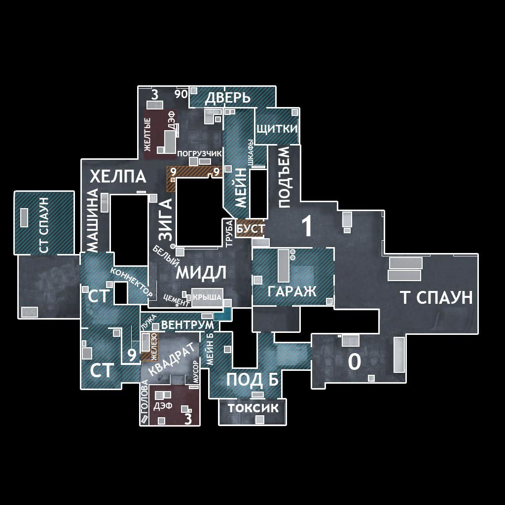Обозначение позиций на карте Cache