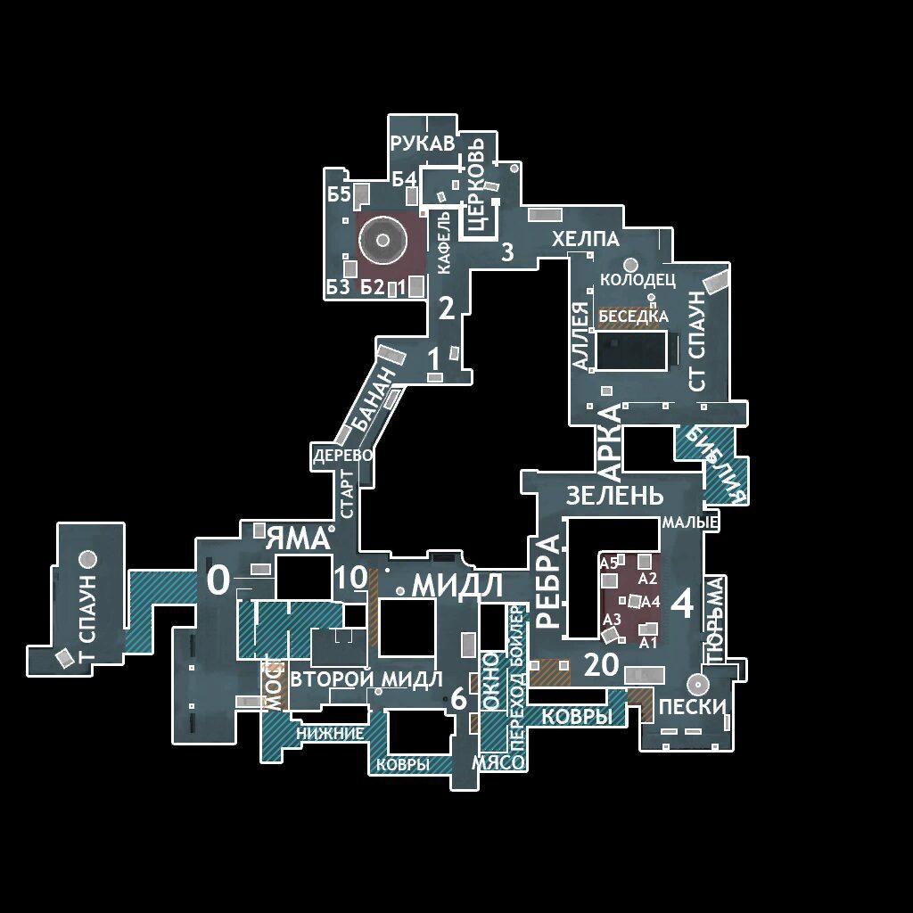 Обозначение позиций на карте Inferno