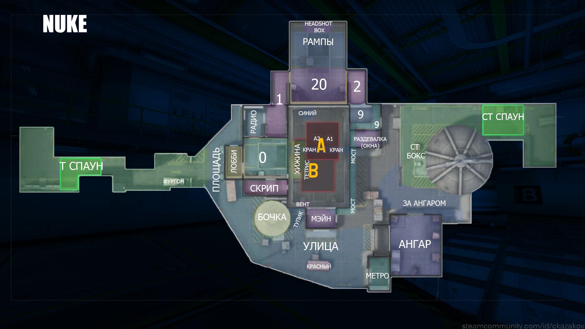 Обозначение позиций на карте Nuke
