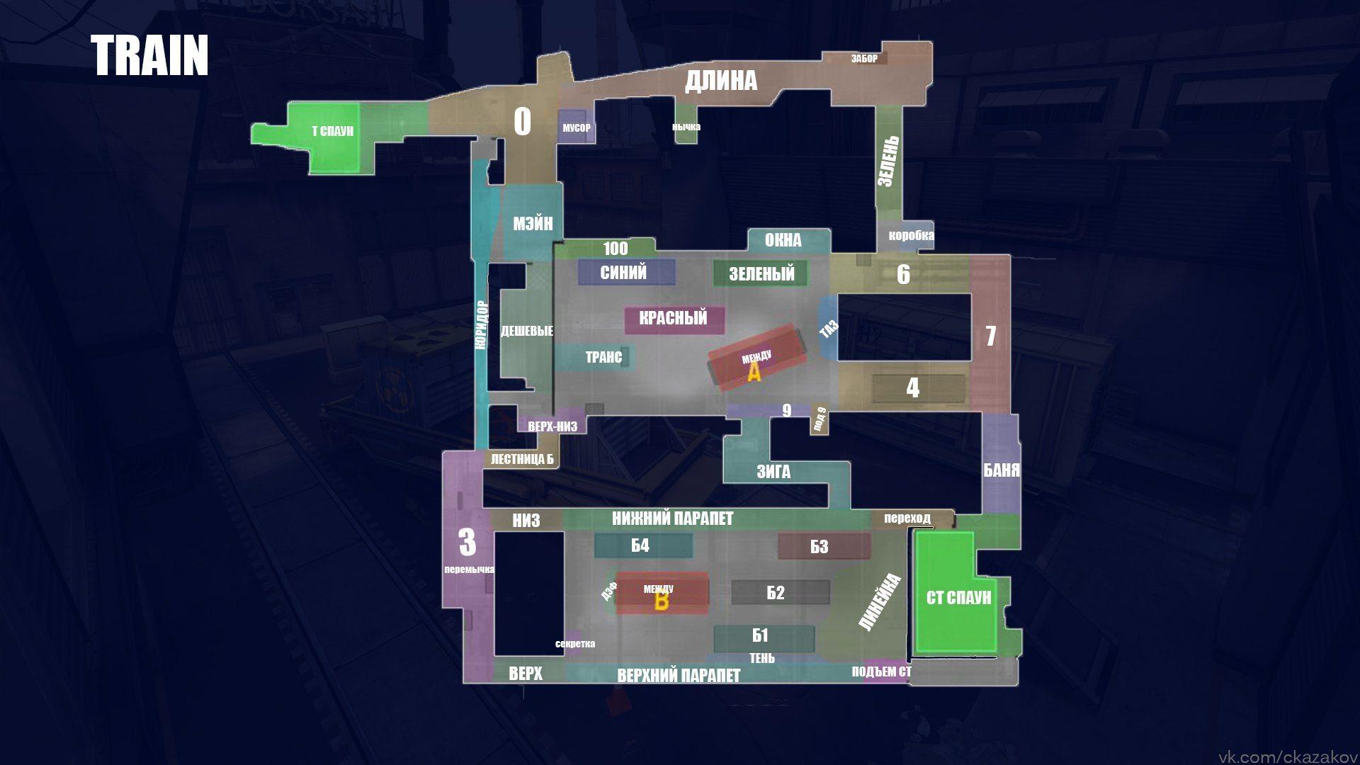 Обозначение позиций на карте Train