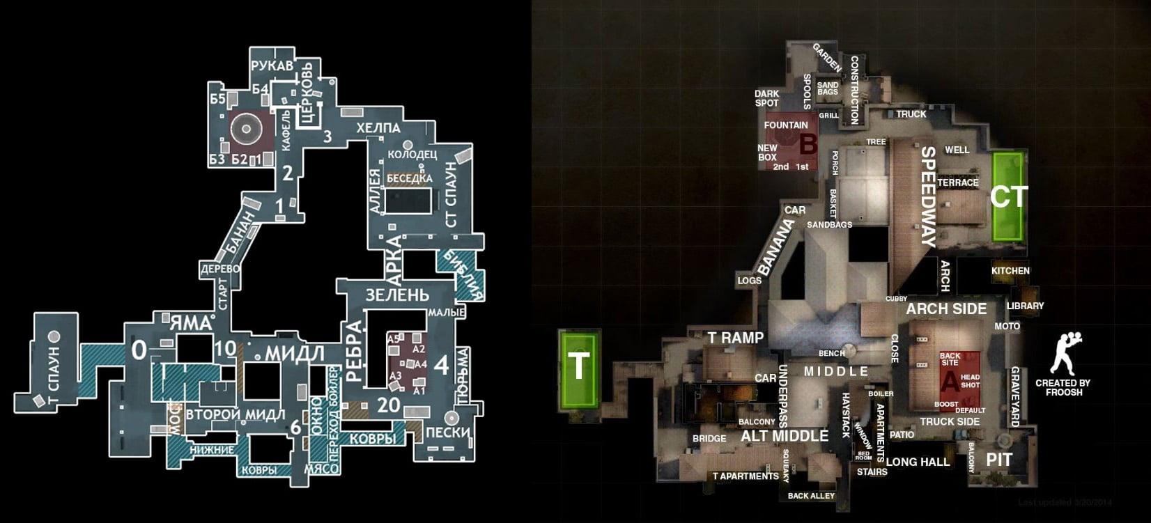 Обозначения на карте Inferno