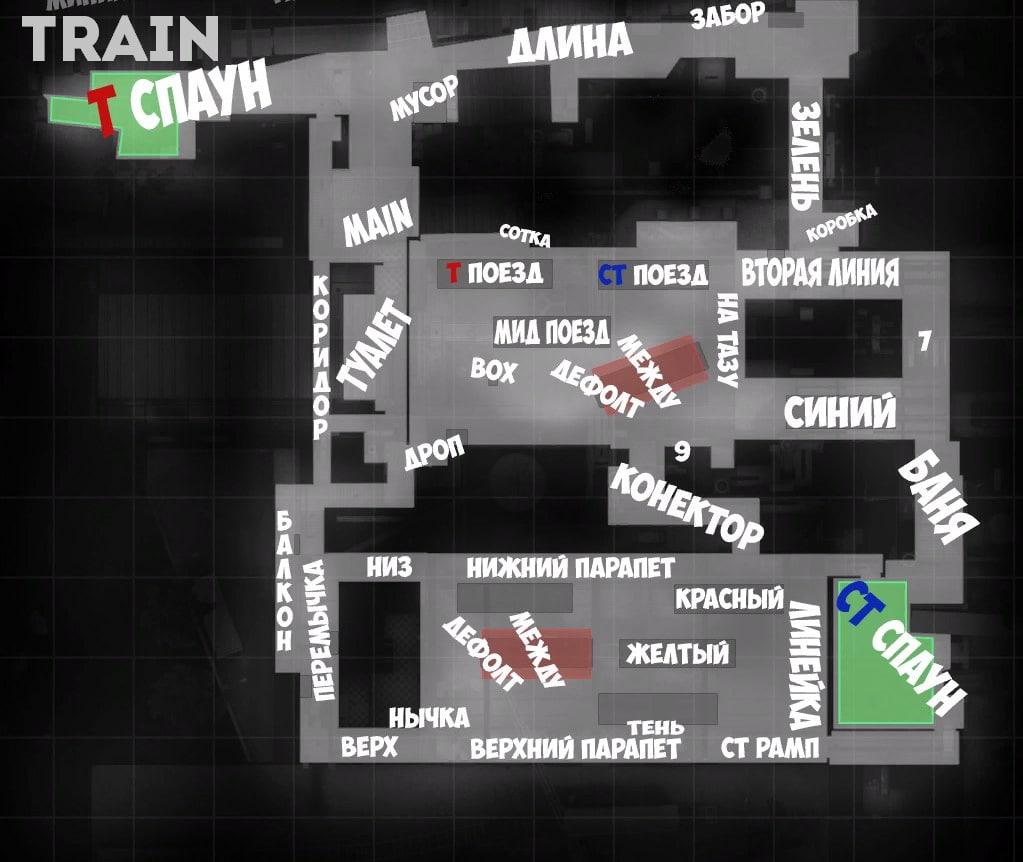 Обозначения на карте Train